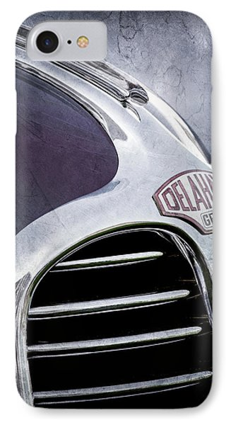 IPhone Case featuring the photograph 1947 Delahaye Emblem -1477ac by Jill Reger