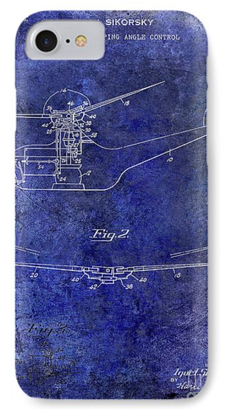 1947 Helicopter Patent Blue IPhone 7 Case by Jon Neidert
