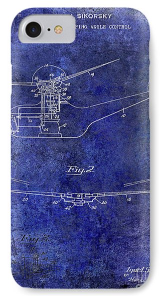 1947 Helicopter Patent Blue IPhone Case by Jon Neidert