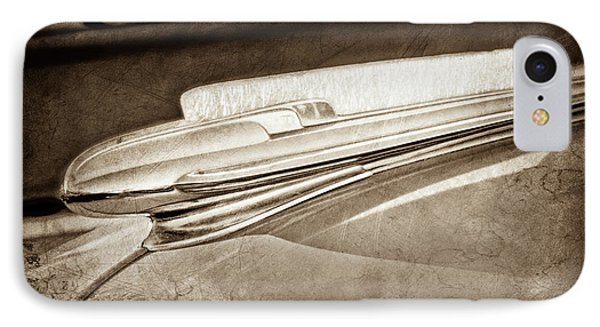 IPhone Case featuring the photograph 1948 Chevrolet Hood Ornament -0587s by Jill Reger