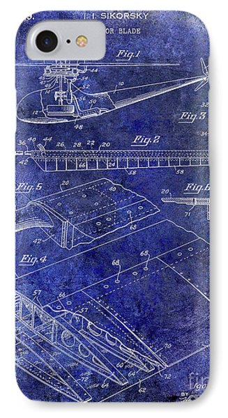 1949 Helicopter Patent Blue IPhone 7 Case by Jon Neidert
