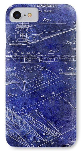 1949 Helicopter Patent Blue IPhone Case by Jon Neidert