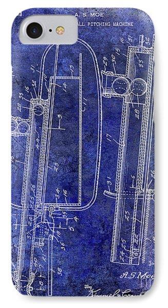 1951 Baseball Pitching Machine Patent Blue IPhone Case by Jon Neidert