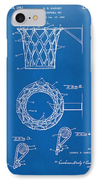 1951 Basketball Net Patent Artwork - Blueprint Phone Case by Nikki Marie Smith