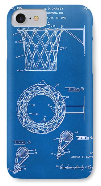 1951 Basketball Net Patent Artwork - Blueprint IPhone Case by Nikki Marie Smith
