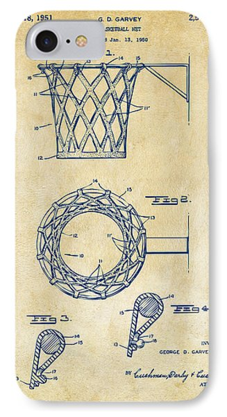 1951 Basketball Net Patent Artwork - Vintage Phone Case by Nikki Marie Smith
