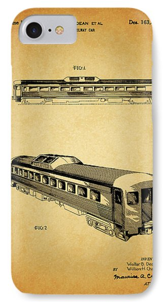 1951 Railway Car Patent IPhone Case by Dan Sproul