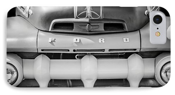 1952 Ford F-1 Truck Grille -0242bw IPhone Case by Jill Reger