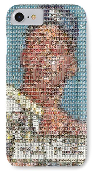 IPhone Case featuring the mixed media 1952 Topps Mickey Mantle Rookie Card Mosaic by Paul Van Scott
