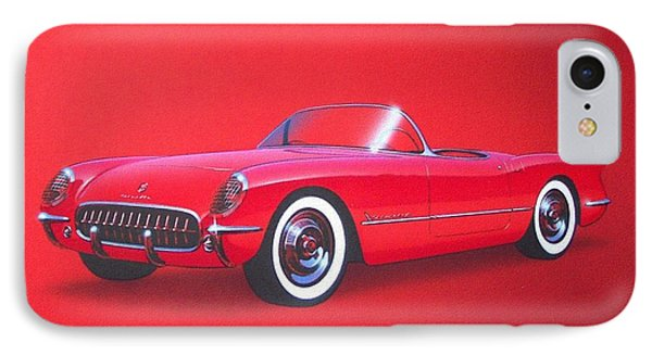 1953 Corvette Classic Vintage Sports Car Automotive Art Phone Case by John Samsen