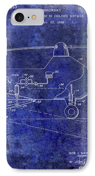 1953 Helicopter Patent Blue IPhone 7 Case
