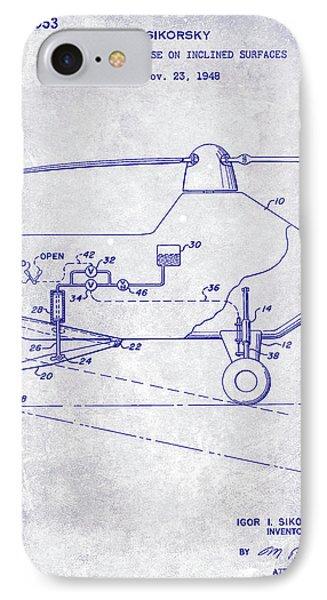 1953 Helicopter Patent Blueprint IPhone 7 Case by Jon Neidert