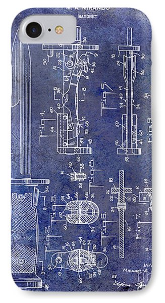 1955 Bayonet Patent Blue IPhone Case by Jon Neidert