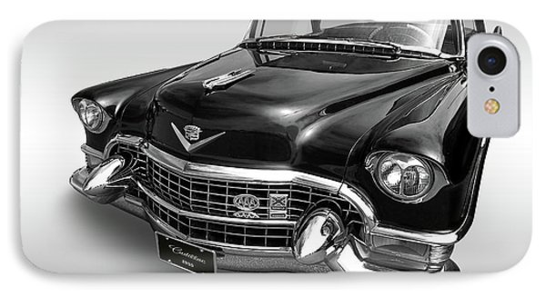 IPhone Case featuring the photograph 1955 Cadillac Black And White by Gill Billington