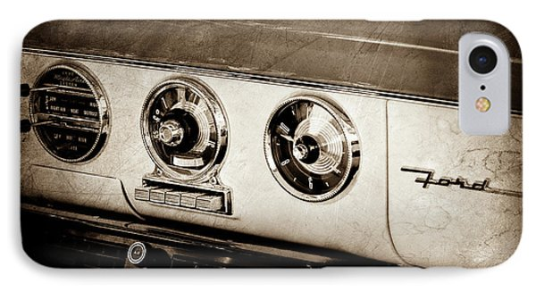 IPhone Case featuring the photograph 1955 Ford Fairlane Dashboard Emblem -0444s by Jill Reger