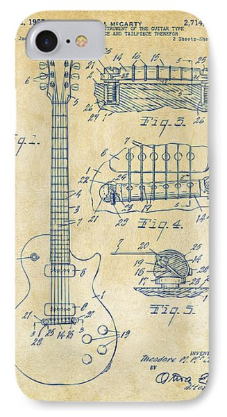 1955 Mccarty Gibson Les Paul Guitar Patent Artwork Vintage IPhone Case by Nikki Marie Smith