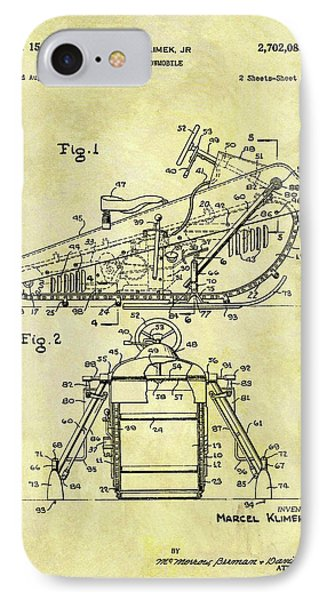 1955 Snowmobile Patent IPhone Case by Dan Sproul