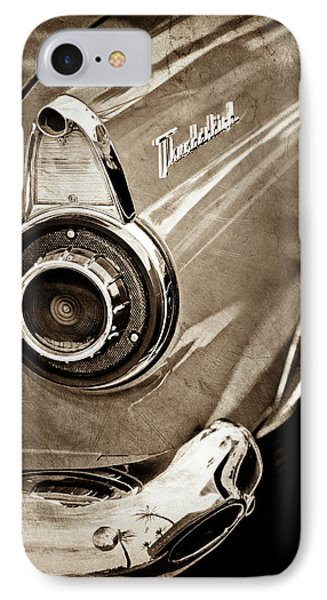 IPhone Case featuring the photograph 1956 Ford Thunderbird Taillight Emblem -0382s by Jill Reger