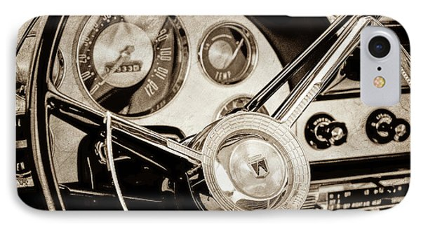 IPhone Case featuring the photograph 1956 Ford Victoria Steering Wheel -0461s by Jill Reger
