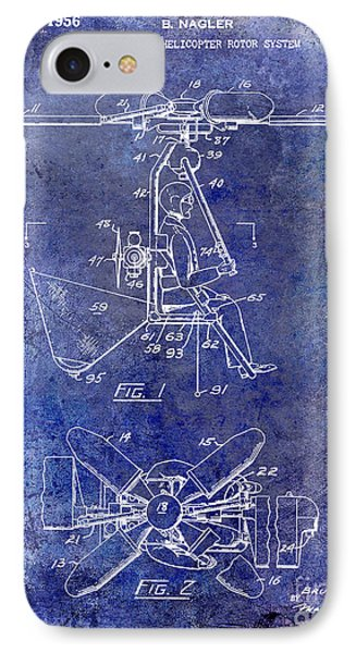 1956 Helicopter Patent Blue IPhone 7 Case by Jon Neidert