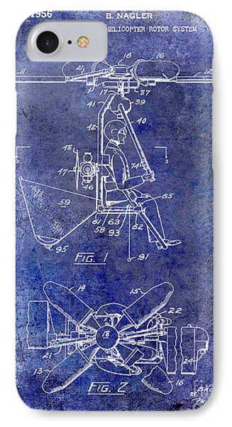 1956 Helicopter Patent Blue IPhone Case by Jon Neidert