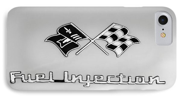 1957 Chevrolet Belair Fuel Injection Emblem -157bw2 IPhone Case by Jill Reger