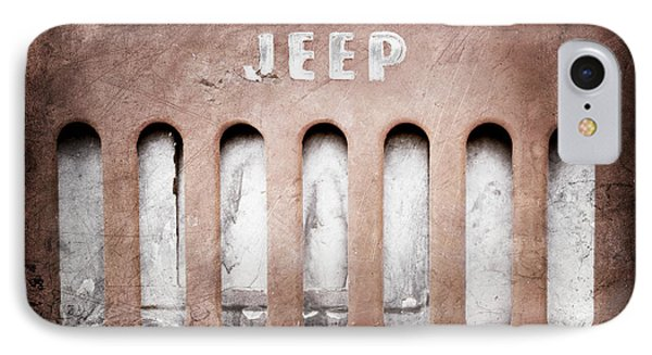 IPhone Case featuring the photograph 1957 Jeep Emblem -0597ac by Jill Reger