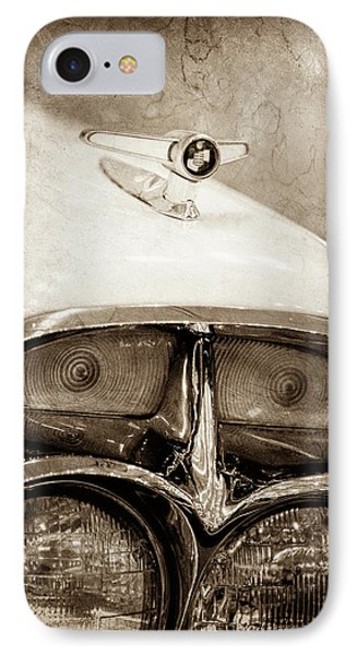 IPhone Case featuring the photograph 1957 Mercury Turnpike Cruiser Emblem -0749s by Jill Reger