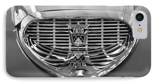 IPhone Case featuring the digital art 1958 Ford Fairlane Sunliner Intake Bw by Chris Flees