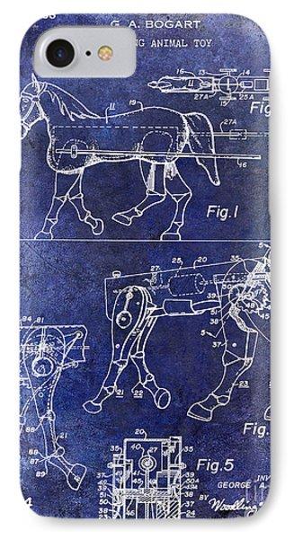 1958 Horse Toy Patent Blue IPhone Case by Jon Neidert