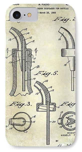 1958 Liquor Bottle Pour Patent IPhone Case by Jon Neidert