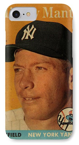 1958 Topps Baseball Mickey Mantle Card Vintage Poster IPhone 7 Case