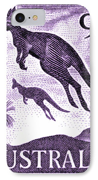 Kangaroo iPhone 7 Case - 1959 Australia Kangaroo Postage Stamp by Retro Graphics