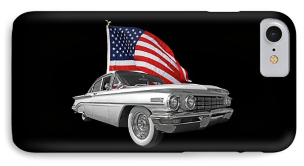 1960 Oldsmobile With Us Flag IPhone Case by Gill Billington