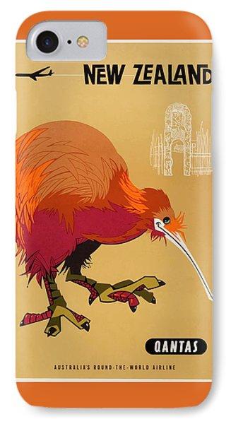 Kiwi iPhone 7 Case - 1960 Qantas New Zealand Kiwi Travel Poster by Retro Graphics