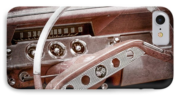 IPhone Case featuring the photograph 1961 Chevrolet Impala Ss Steering Wheel Emblem -1156ac by Jill Reger