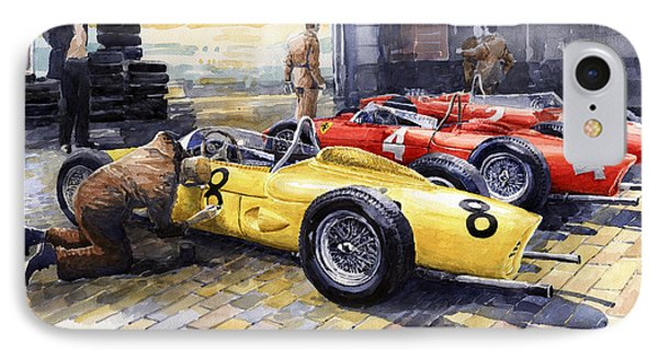 1961 Spa-francorchamps Ferrari Garage Ferrari 156 Sharknose  Phone Case by Yuriy Shevchuk