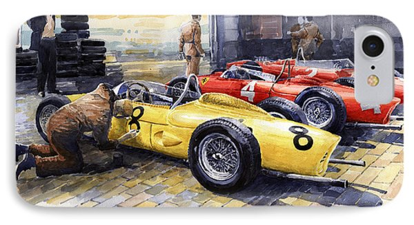 1961 Spa-francorchamps Ferrari Garage Ferrari 156 Sharknose  IPhone Case by Yuriy Shevchuk