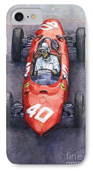 1962 Monaco Gp Willy Mairesse Ferrari 156 Sharknose Phone Case by Yuriy Shevchuk