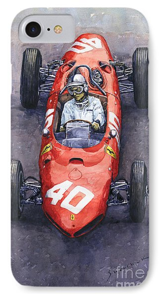 1962 Monaco Gp Willy Mairesse Ferrari 156 Sharknose IPhone Case by Yuriy Shevchuk