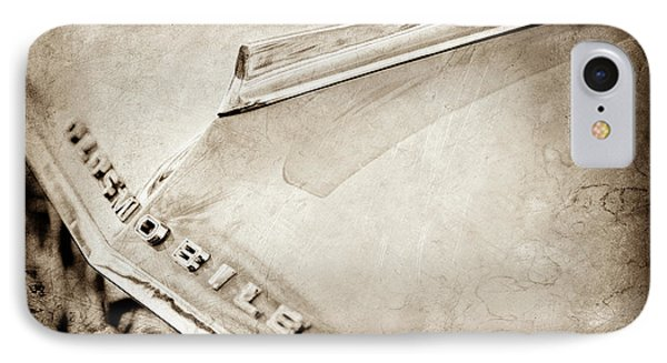 IPhone Case featuring the photograph 1962 Oldsmobile Hood Ornament And Emblem -0598s by Jill Reger