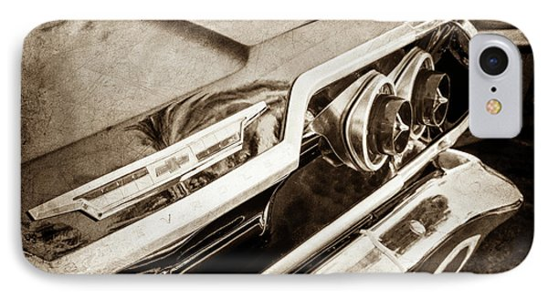 IPhone Case featuring the photograph 1963 Chevrolet Taillight Emblem -0183s by Jill Reger