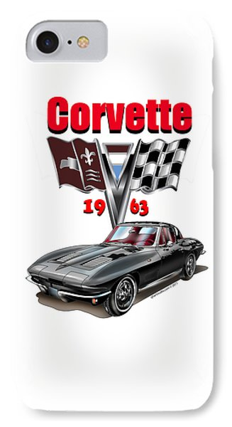 IPhone Case featuring the mixed media 1963 Corvette With Split Rear Window by Thomas J Herring