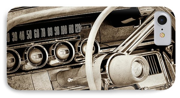 IPhone Case featuring the photograph 1964 Ford Thunderbird Steering Wheel -0280s by Jill Reger