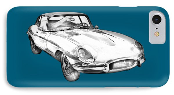1964 Jaguar Xke Antique Sportscar Illustration IPhone Case by Keith Webber Jr