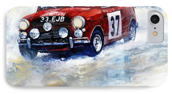 1964 Rallye Monte Carlo Mini Cooper S Hopkirk Liddon Winner IPhone Case by Yuriy Shevchuk