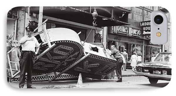 IPhone Case featuring the photograph 1965 Removing Rko Theater Sign Boston by Historic Image