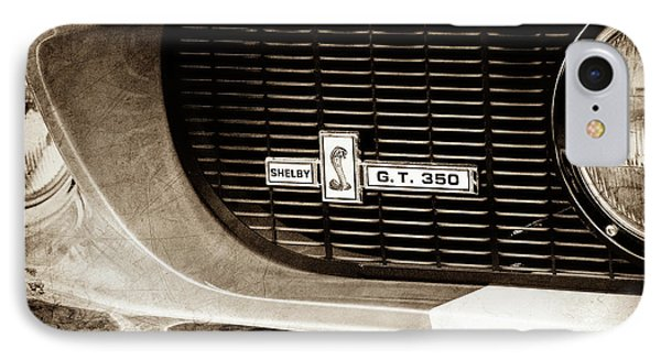 IPhone Case featuring the photograph 1967 Ford Gt 350 Shelby Clone Grille Emblem -0759s by Jill Reger