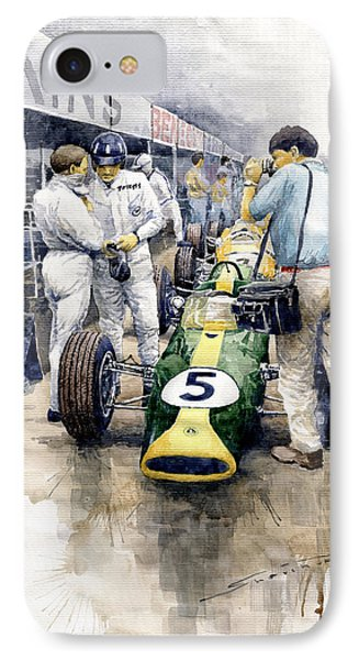 1967 Lotus 49t Ford Coswoorth Jim Clark Graham Hill IPhone Case by Yuriy Shevchuk