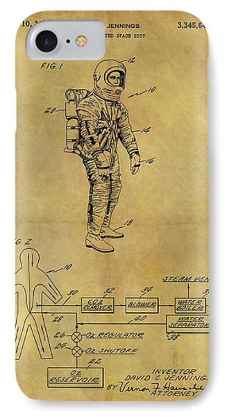 1967 Space Suit Patent IPhone Case by Dan Sproul